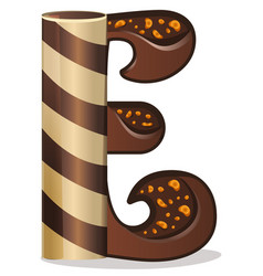 Letter e candies chocolate vector