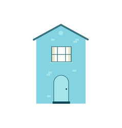 light blue two story house in flat cartoon style vector image