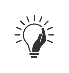 Lightbulb in hand icon in flat style bulb on vector
