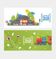 little train driver children railway isolated on vector image