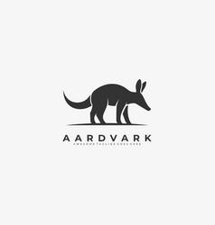 Logo aardvark walking silhouette vector