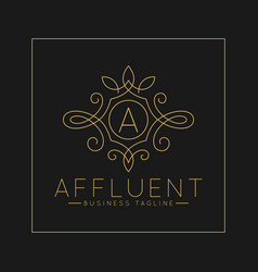 Luxurious letter a logo with classic line art vector