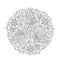 Mandala with three ornate beautiful flying birds vector image