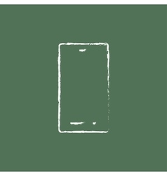 Mobile phone icon drawn in chalk vector