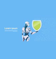 modern robot hold shield data protection concept vector image