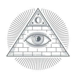 Mystical occult sign with freemasonry eye symbol vector