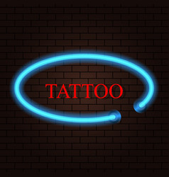 Neon banner salon tattoo on brick background vector