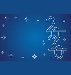 new year 2020 line numbers on blue greeting vector image