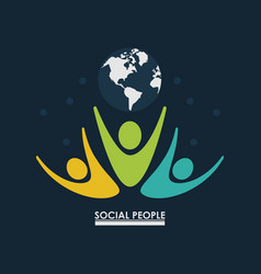 Pictogram people with earth globe concept social vector