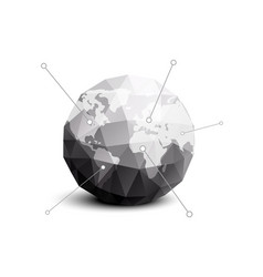 planet earth in gray polygon style vector image