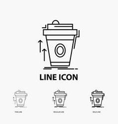 Product promo coffee cup brand marketing icon in vector