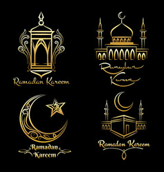 Ramadan kareem golden logo set vector
