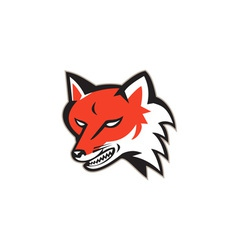 Red Fox Angry Head Retro vector