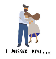 romantic couple with lettering i missed you vector image