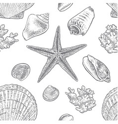 seamless hand drawn pattern with seashells vector image