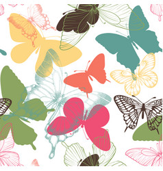 seamless pattern with decorative butterflies in vector image