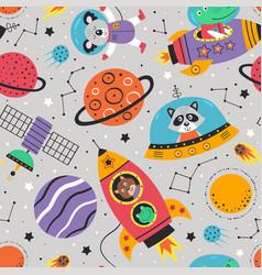 Seamless pattern with space animals vector