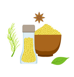Sesame seeds in a wooden bowl and glass jar herbs vector