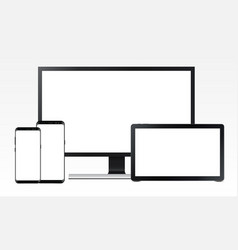 Set of electronic devices mockups vector