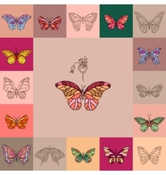 Set with different butterflies For your design vector