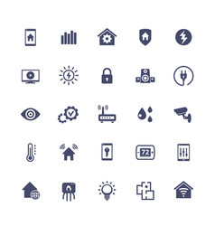 Smart home house automation system icons set vector