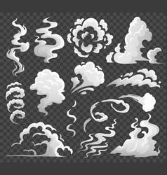 Smoke clouds comic steam cloud fume eddy and vector