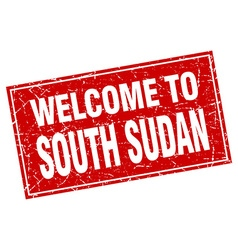 South Sudan red square grunge welcome to stamp vector