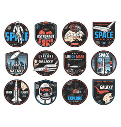 Space badges astronauts spaceships and planets vector