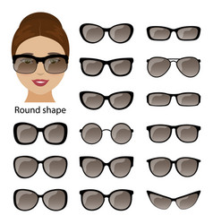 Spectacle frames and round face vector