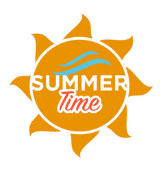 summer time text in sun vector image