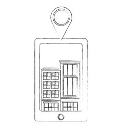 Tablet device with buildings structures and pin vector