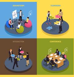Teamwork collaboration isometric concept vector