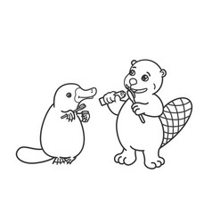 The beaver and the platypus are brushing their vector