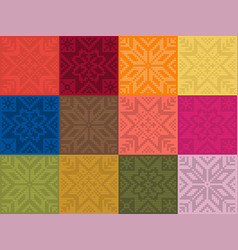 Trendy color seamless by plain color knitt patches vector
