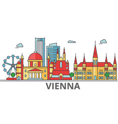 Vienna city skyline buildings streets vector