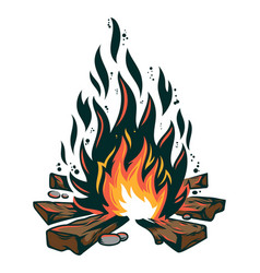 vintage bonfire on fireplace for camping trip vector image