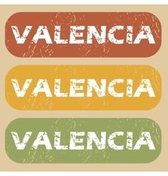 Vintage Valencia stamp set vector