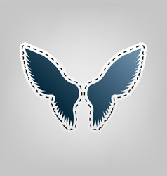 wings sign blue icon with vector image