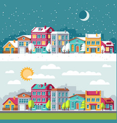 Winter and summer landscape with city houses flat vector