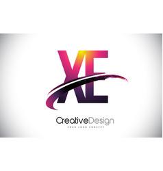 Xe x e purple letter logo with swoosh design vector