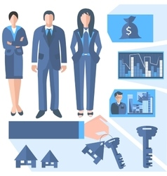 Business people estate agents trading charts vector image vector image
