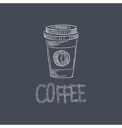Coffee Sketch Style Chalk On Blackboard Menu Item vector image vector image