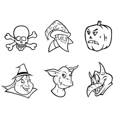 halloween collection outline vector image vector image