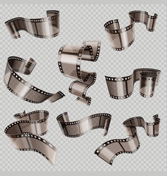 retro 35mm foto and movie film roll set vector image vector image