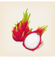Ripe exotic dragon fruit with slice vector image