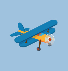 side view of airplane biplane with piston engine vector image vector image