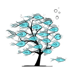 Underwater tree with funny fishes for your design vector image