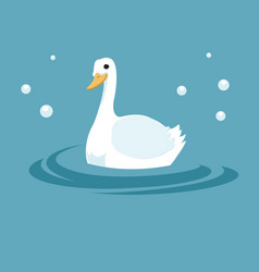 white duck in throbbing lake vector image