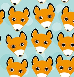 Fox Seamless pattern with funny cute animal face vector image vector image