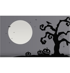 Gray backgrounds Halloween pumpkins and dry tree vector image